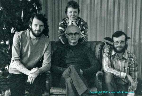 The Paris family, Mark, Doris, Vaughan and Henry, Christmastime, probably in the mid-to late-1970's, at home in Rome, Georgia.