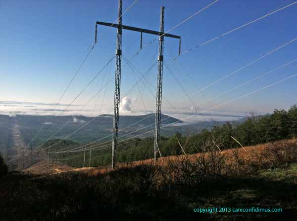 Powerlines and the view from Lavender Mountain