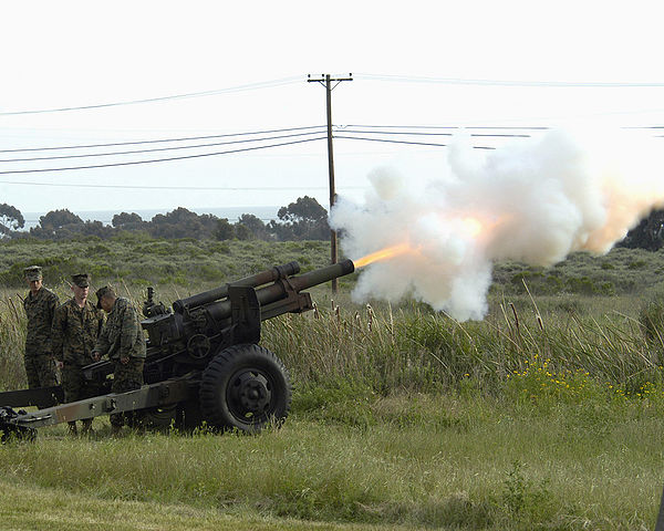 105-mm howitzer being fired